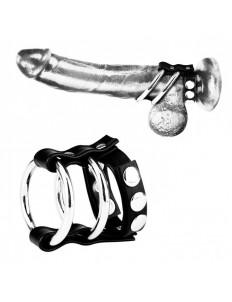 Двойное металлическое кольцо на пенис с регулируемым ремешком