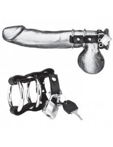 Двойное металлическое кольцо на пенис с замком на ремне