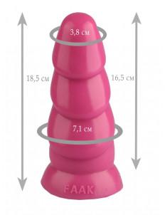 Розовая рельефная анальная втулка - 18,5 см.