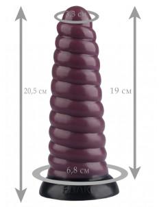 Коричневый рельефная анальная втулка - 20,5 см.