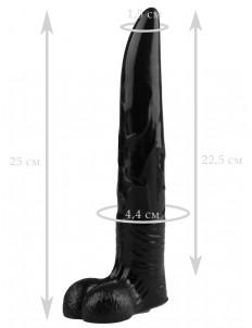 Черный фаллоимитатор северного оленя - 25 см.
