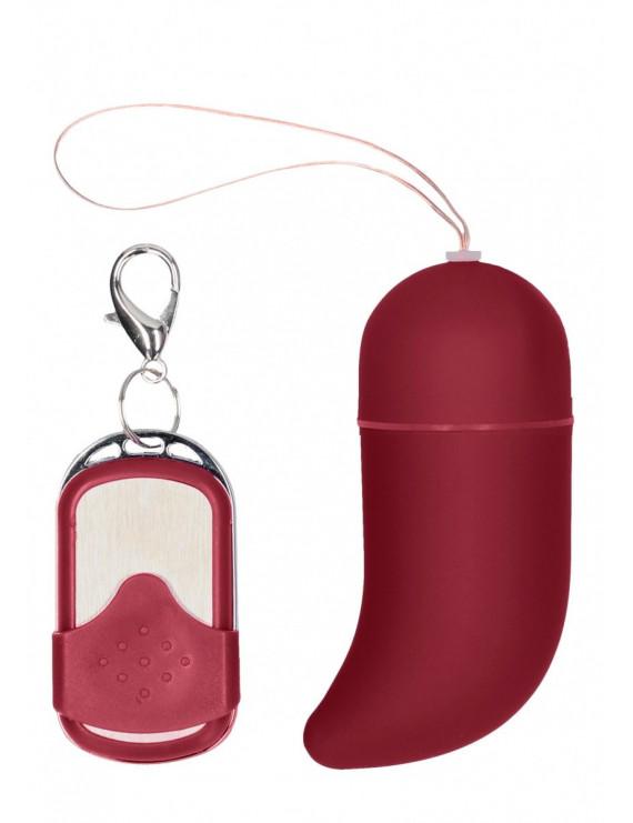 Красное виброяйцо Medium Wireless Vibrating G-Spot Egg с пультом - 7,5 см.