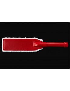Бело-красная кожаная шлепалка с мехом