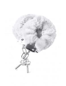 Белые меховые наручники с металлическим крепежом
