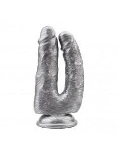 Серебристый анально-вагинальный фаллоимитатор Dick Cumming - 18 см.