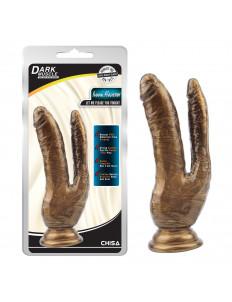 Золотистый анально-вагинальный фаллоимитатор Ivana Havesex - 19,5 см.
