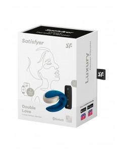 Синий вибратор для пар Double Love с возможностью управления через пульт и приложение