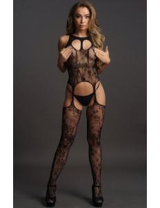 Ажурный кэтсьюит Lace Suspender Bodystocking With Round Neck