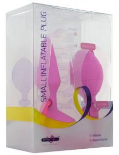 Розовая анальная пробка с расширением Inflatable Butt Plug Small - 10 см.