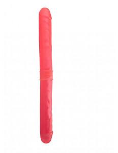 Розовый двусторонний гелевый фаллоимитатор - 44 см.