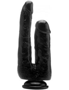 Чёрный анально-вагинальный фаллоимитатор Realistic Double Cock 9 Inch - 23 см.