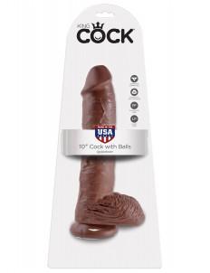Большой коричневый фаллоимитатор с мошонкой 10  Cock with Balls на присоске - 25,4 см.