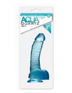 Голубой гелевый фаллоимитатор Aqua Quartz - 20 см.