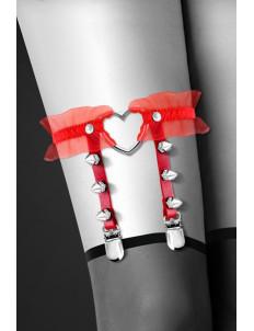 Красная подвязка с сердцем и шипами GARTER WITH HEART